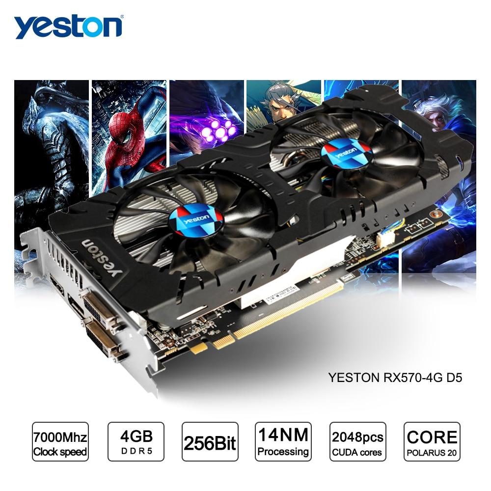 Yeston Radeon RX 570 GPU 4GB GDDR5 256 bit Gaming Desktop computer PC Video Graphics Cards support DVI/HDMI