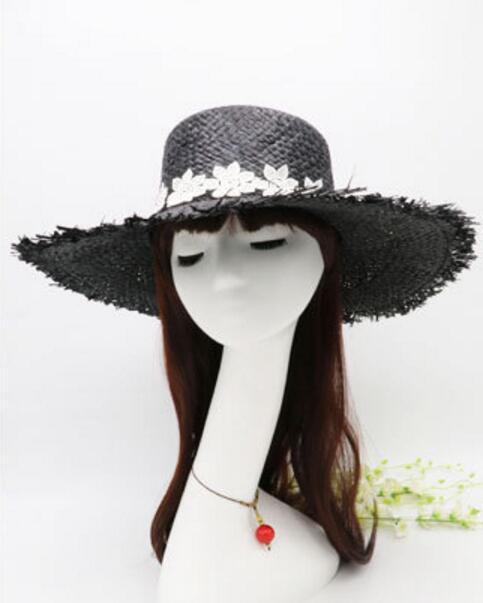 53194c8f4fe 10pcs Pretty Women Black Wide Brim Lace Ribbon Boater Hats Summer Ladies Big  Beach Sun Raffia Straw Caps Large Brim CapWholesale