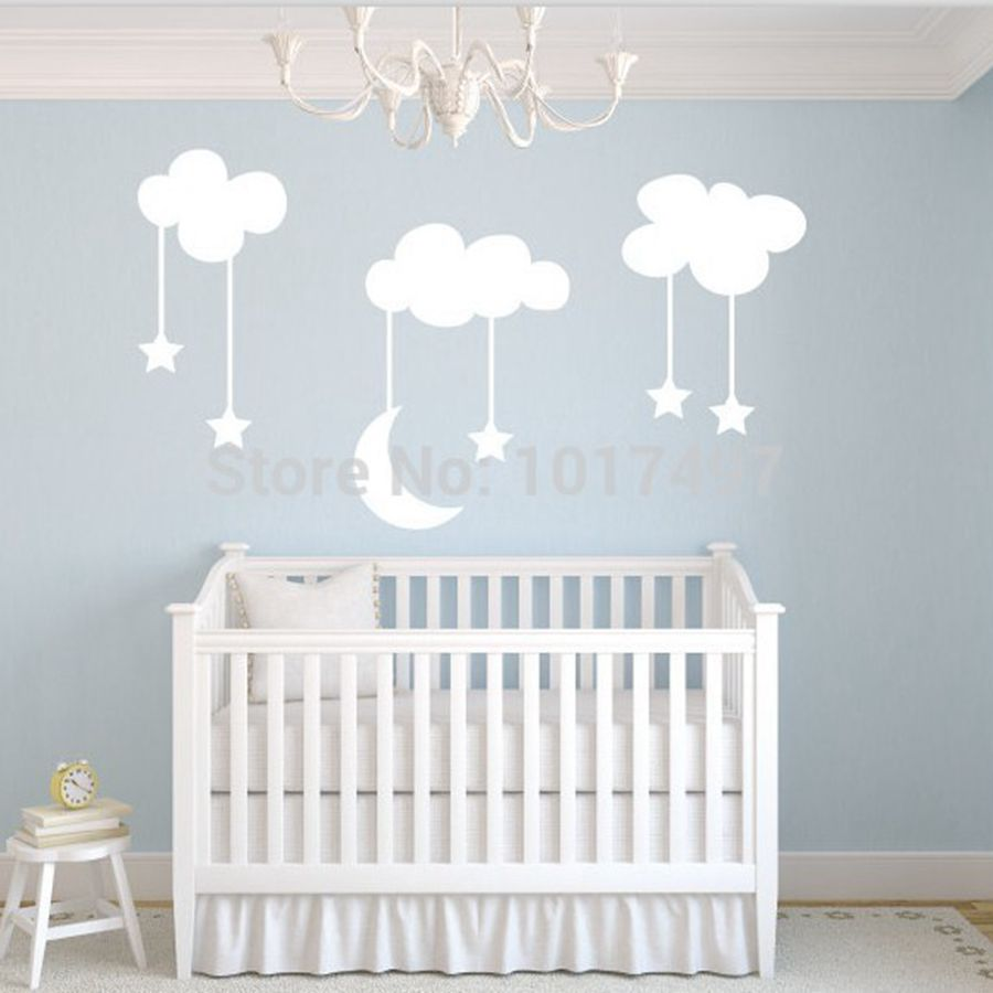 Moon Stars Baby Nursery Vinyl Wall Stickers,Large 220*140cm White Sky blue MOON CLOUDS nursery room decor decals,free shipping