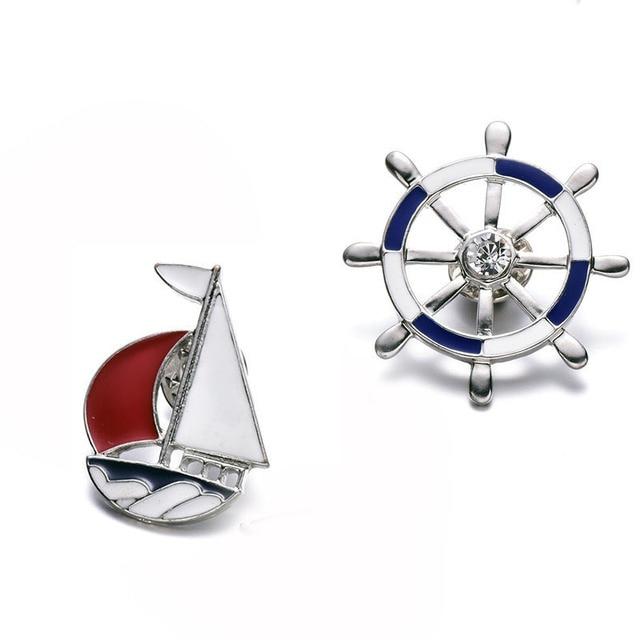 Fashion Kapal Bros untuk Pria Wanita Biru Kristal Merah Perahu Layar Helm Enamel Kerah Pin dan Perhiasan Bros Bijuteria