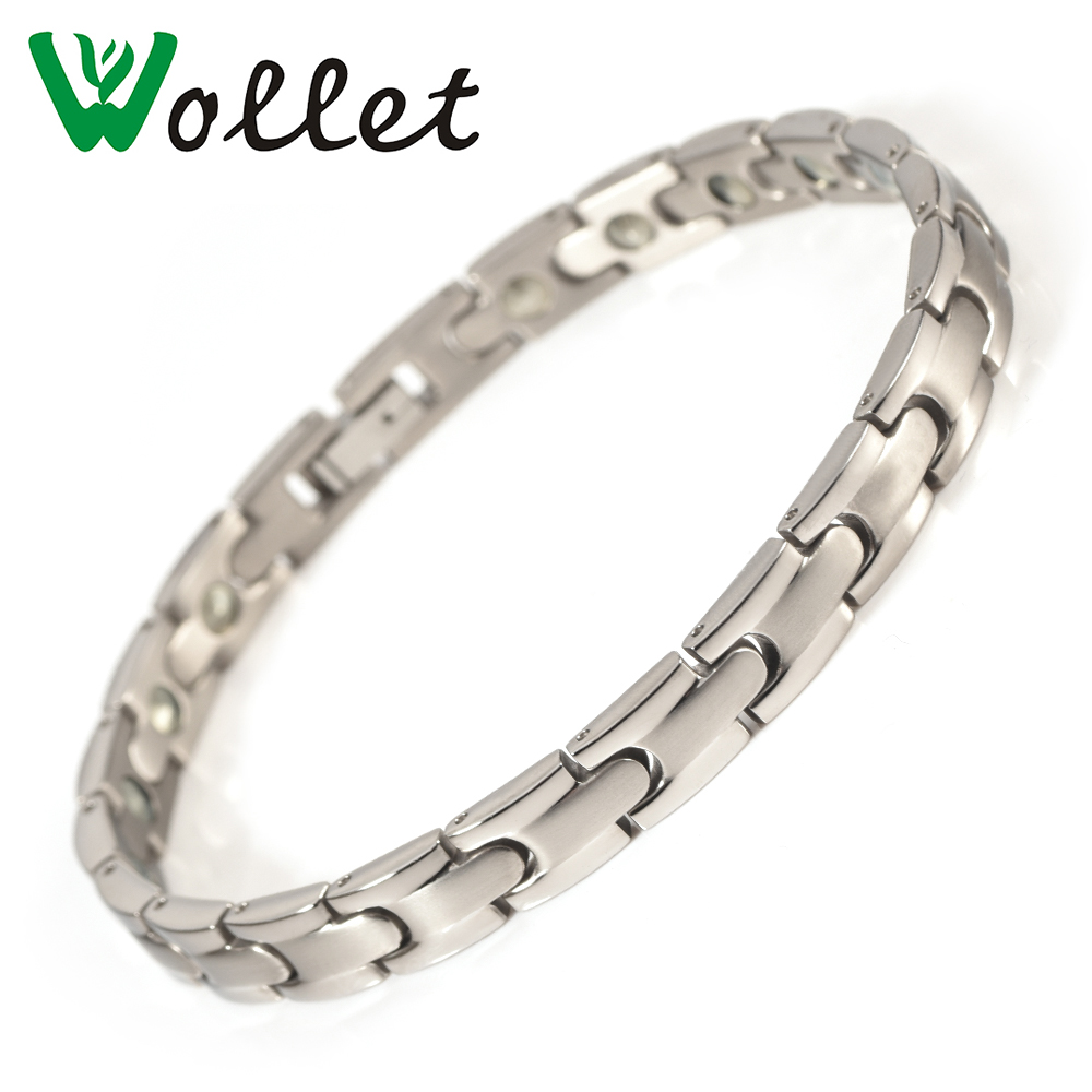 Wollet Jewelry 99 999 Germanium Pure Titanium Bracelets For Women Health Care Healing Energy Silver Metallic