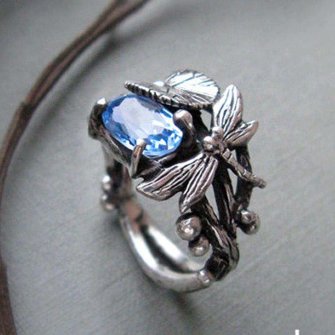 Jiayiqi 2018 Fashion Dragonfly Lotus Ring Bohe Silver