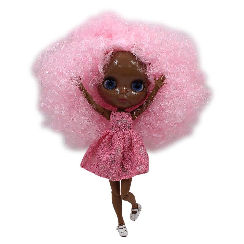 fortune days factory blyth doll super black skin tone darkest ultra skin pink hair joint body 1/6 30cm 280BLQE126107 fortune days factory blyth doll super black skin tone darkest skin dark brown hair joint body 1 6 30cm bl0521