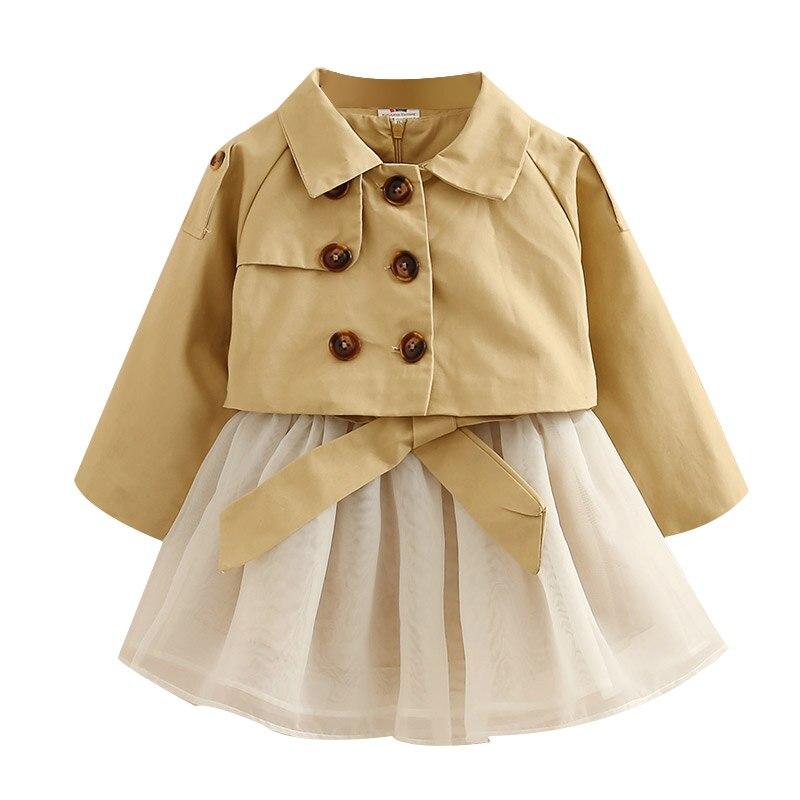 613234a352b70c2 Детские костюмы 2018 новые осенние модные Стиль пальто с длинными рукавами  + жилет сетчатые платья Дизайн для От 3 до 10 лет Детское платье для д.