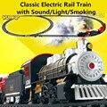Clássico brinquedos a Pilhas de Brinquedos Do Carro Ferroviário Trilho de Trem Trem Elétrico com Som & Luz & Fumadores Carro de Trilho para crianças