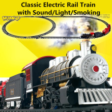 Huanqi Classic toys Battery Operated Railway Rail Train Electric Toys Car with Sound&Light&Smoking for Children