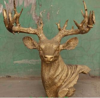 "WBY + + + envío gratis 16 ""bronce chino tallado Animal ciervo jirafa Lu escultura busto cabeza"