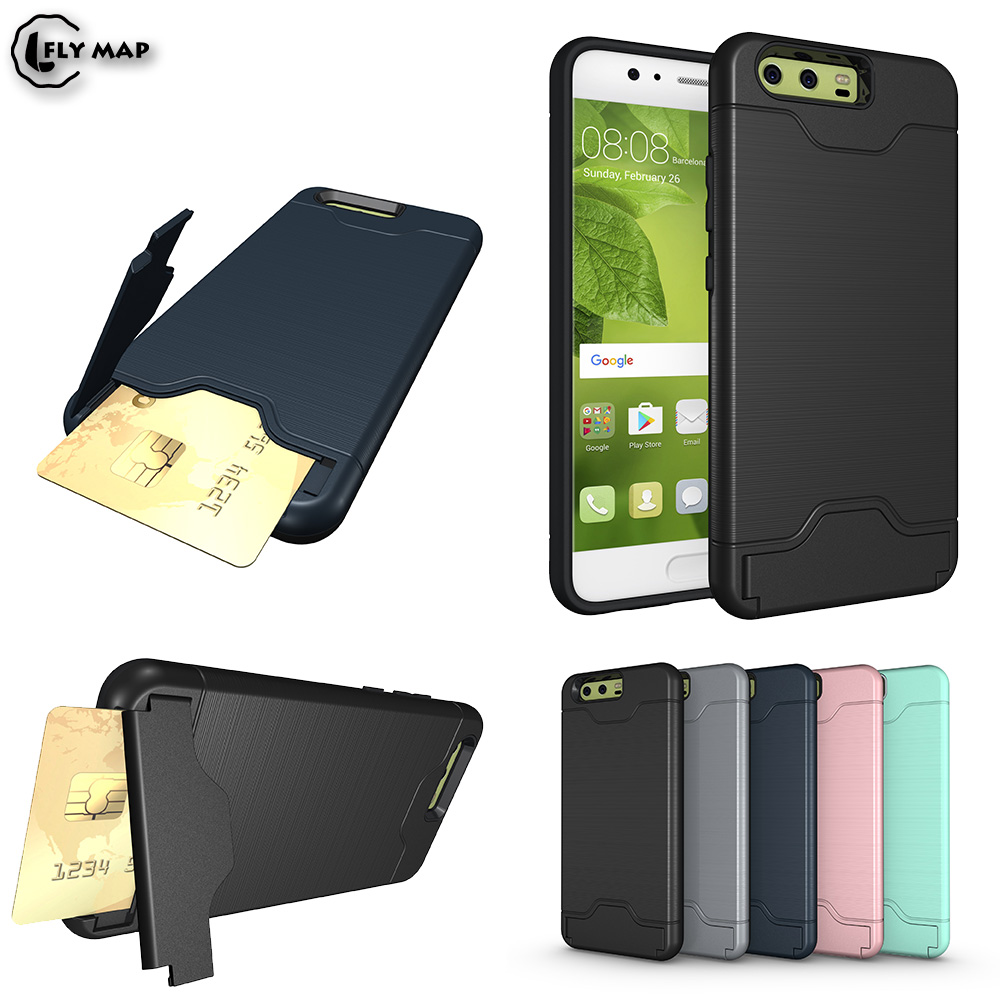 Hidden Card Slot Phone Case for Huawei P10 VTR-L29 VTR-L09 Armor Credit Card Phone Back Cover for Huawei P 10 Coque
