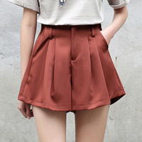 Yichaoyiliang School High Waist Shorts 2017 Summer Solid Color Loose Shorts Half Elastic Waist Simple Shorts
