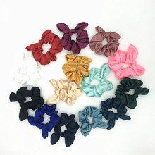 20PCS Wholesale Satin Silk Scrunchies Ponytail Holder Elastic HairBand Scrunchie Set Pack with Bunny Ear Headwear Hair Accessory
