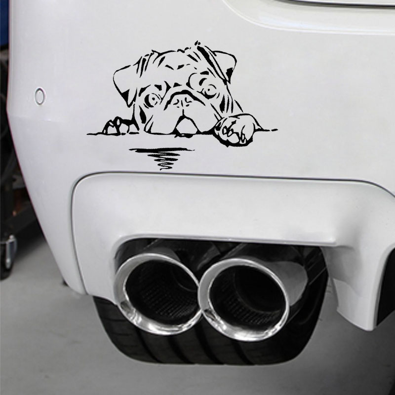 15CM 10CM Pug Dog Decal Vinyl Car Sticker Animal Bread Cute Puppy Motorcycle SUVs Bumper Vinyl Decals in Car Stickers from Automobiles Motorcycles
