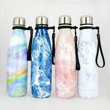 500ML Fashion Marble pattern Portable double wall stianless steel Outdoor sports water bottle Cola bottle insualtion bottle все цены
