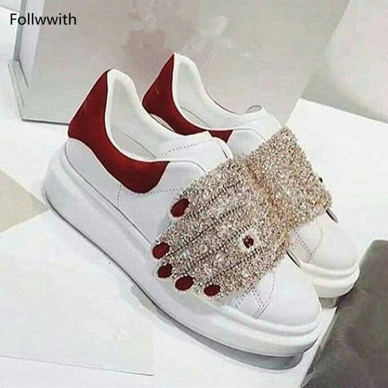 En À 2018 Casual Luxe La as Pic Véritable Cristal Crochet forme Sneaker Chaussures Plate Pic Nouveau As Les Boucle Et Main Designer Blanc Pour Femmes Cuir De LUGVMpjqzS
