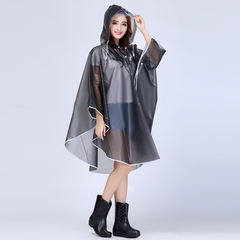 Portable EVA Transparent Woman Poncho Fashion Womens Waterproof Outdoor Outerwear Hooded Cover Rain Coat Knee Length Raincoat