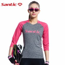 Santic Women's 3/5 Sleeve Cycling Jerseys Breathable Quick Dry Riding Long T-Shirt Spring Summer Bicycle Ropa Ciclismo Clothing