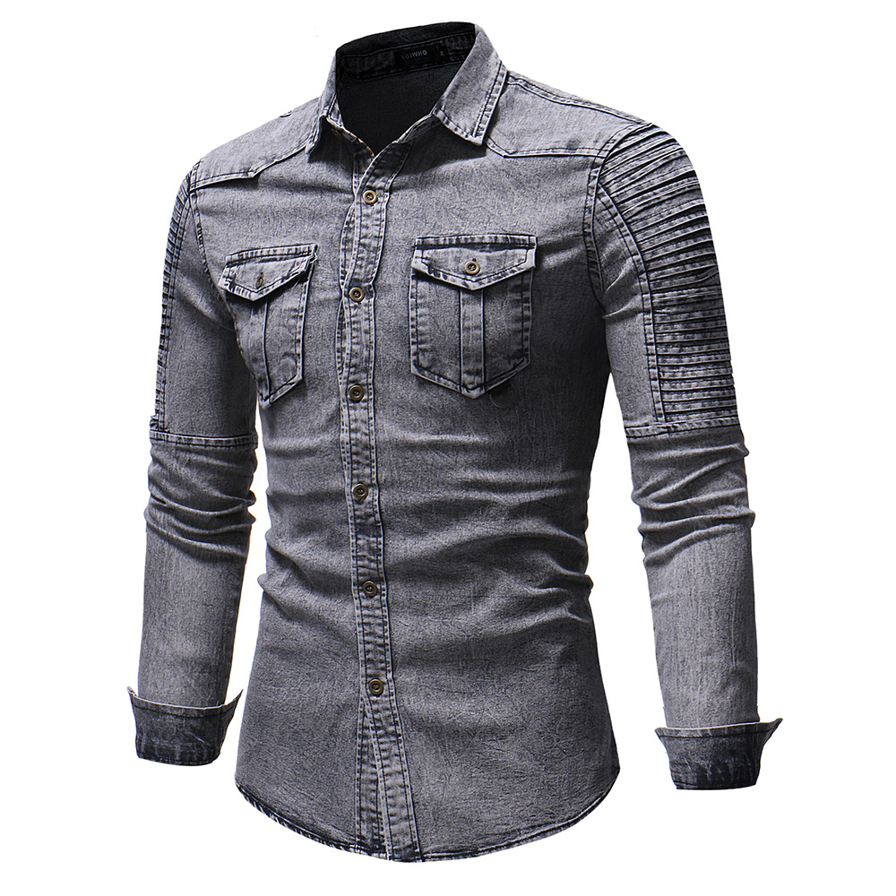 Casual Turn-Down Collar Long Sleeve Men's Shirts Solid Cotton Shirt Casual Male Shirts Clothing Fashion Men's Tops Clothes D40