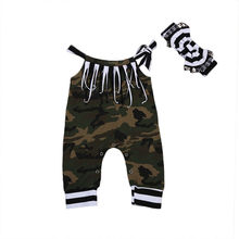 2017 pudcoco 2PCS Baby Girls Boys Clothes Summer Camouflage Romper Toddler Newborn Outfits Jumpsuit Headband Clothes