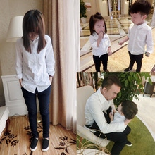 Family fashion 2016 spring tendrils 100 cotton white mother and son long sleeve shirt casual shirt