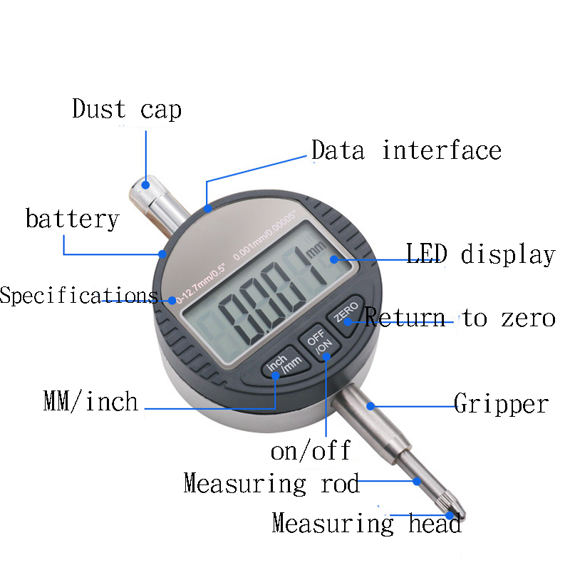 0 12 7mm Electronic Micrometer 0 01mm and 0 001 Digital Micrometro Dial Indicator Depth Measuring Tools in Micrometers from Tools