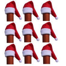 100pcs/lot mini Santa Claus Hat Wine Bottle Covers cup cap top decoration party Dinner Table Decor for Home New Year Decor(China)