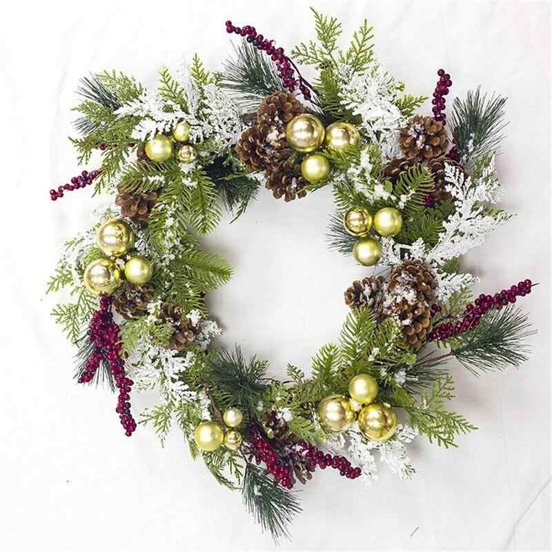 Christmas Garland 45cm Door Wall Decor Artificial Flower Wreath Party Christmas Decoration For Home Living Room Hotel