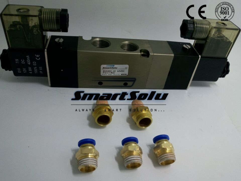 Free shipping air solenoid valve 4V330C-10 Double coil 3/8