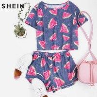 SheIn Womens Two Piece Sets 2017 Summer Ladies Blue Short Sleeve Watermelon Print Frayed Dot Tee