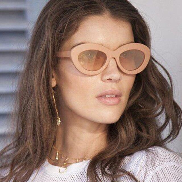 89a1db7ea18 2018 New Cat Eye Women Sunglasses Tinted Color Lens Men Vintage Shaped Sun Glasses  Female Eyewear Blue Sunglasses Brand Designer