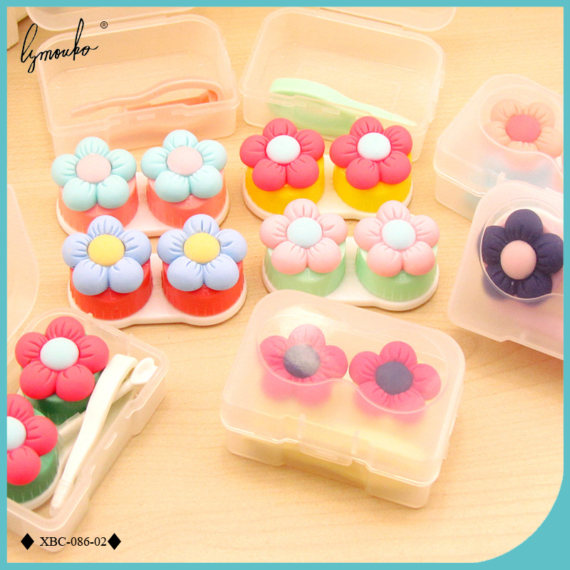Lymouko Cute Multicolor Mini Little Cloth of Flowers Portable Contact Lens Case for Women Gift Kit Holder Contact Lenses Box