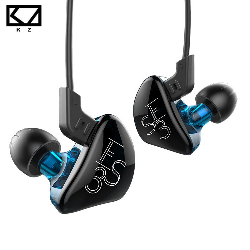 Earphones KZ ES3 Hybrid In-Ear Earphone Double Unit Driver HIFI Auriculares Stereo Bass Running Sport Earbuds Headset With Mic kz ed8m earphone 3 5mm jack hifi earphones in ear headphones with microphone hands free auricolare for phone auriculares sport