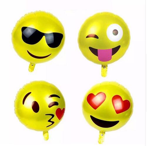 Kid için aşk 18 inç yuvarlak folyo balon emoji balon Parti Dekorasyon Çocuk Oyuncakları Güzel Yüz emoji hediye çocuklar için