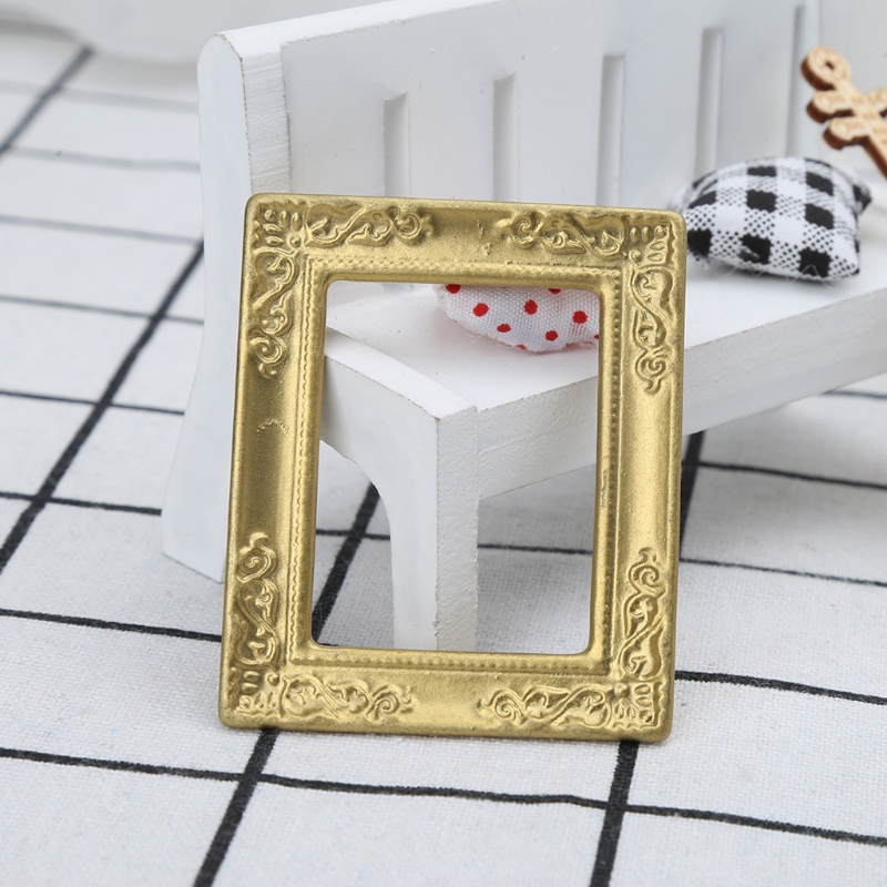OOTDTY Toys 1:12  Gold Frame Photo Frame Accessories For Furniture Miniature Mirror With Gold Frame