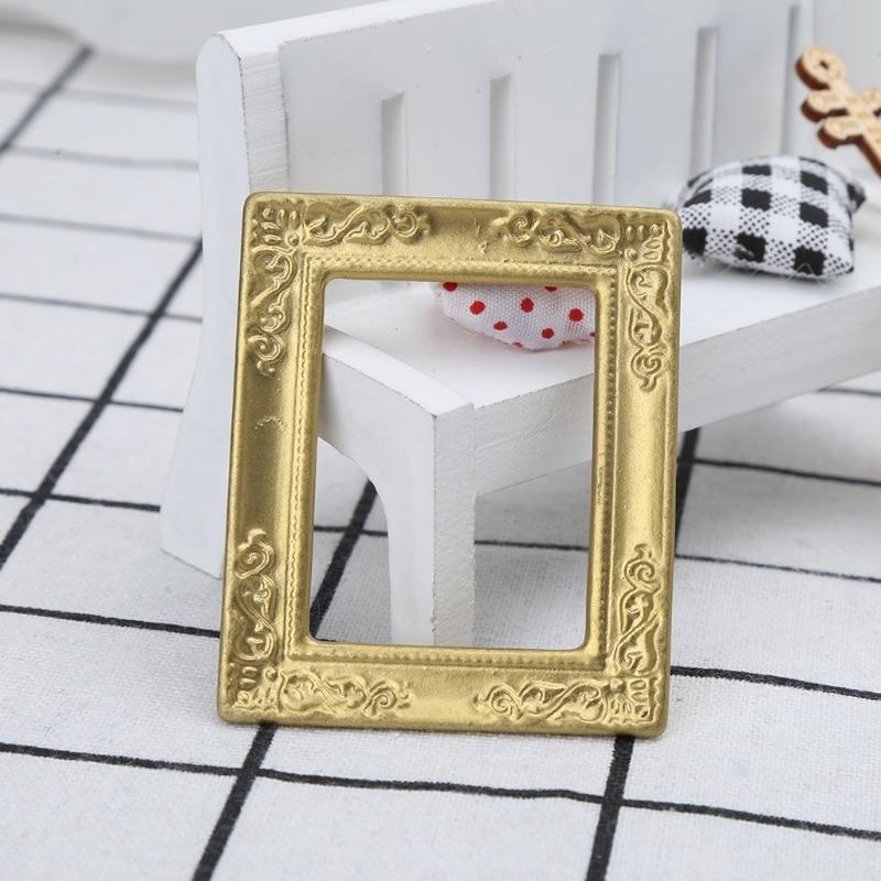 OOTDTY jouets 1:12 cadre en or cadre Photo accessoires pour meubles miroir Miniature avec cadre en or