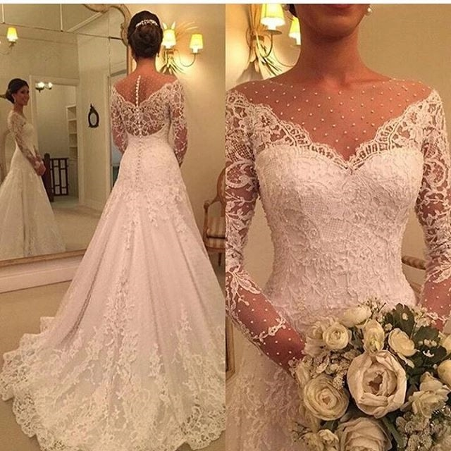 Vestidos de novia Elegant Long Sleeves Vestido de noiva Custom Made Sheer Lace A Line Wedding Dress 2018 Robe de mariee-in Wedding Dresses from Weddings & Events    1