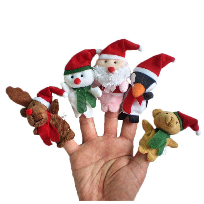 5pc Cutely Story Time Christmas Santa Claus and Friends Finger Puppets Toy Great Fun Toys Gift For Children Playing Drop Ship