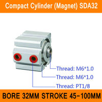 SDA32 Cylinder Compact Magnet SDA Series Bore 32mm Stroke 45 100mm Compact Air Cylinders Dual Action