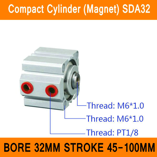 цена на SDA32 Cylinder Compact Magnet SDA Series Bore 32mm Stroke 45-100mm Compact Air Cylinders Dual Action Air Pneumatic Cylinders ISO