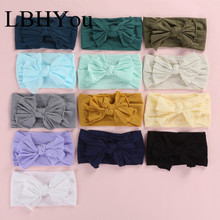 12pcs/lot Girls Bows Nylon Headbands ,Elastic Knot Bow Wide Turban Head Wraps Soft Headwrap, Baby Hair Accessories