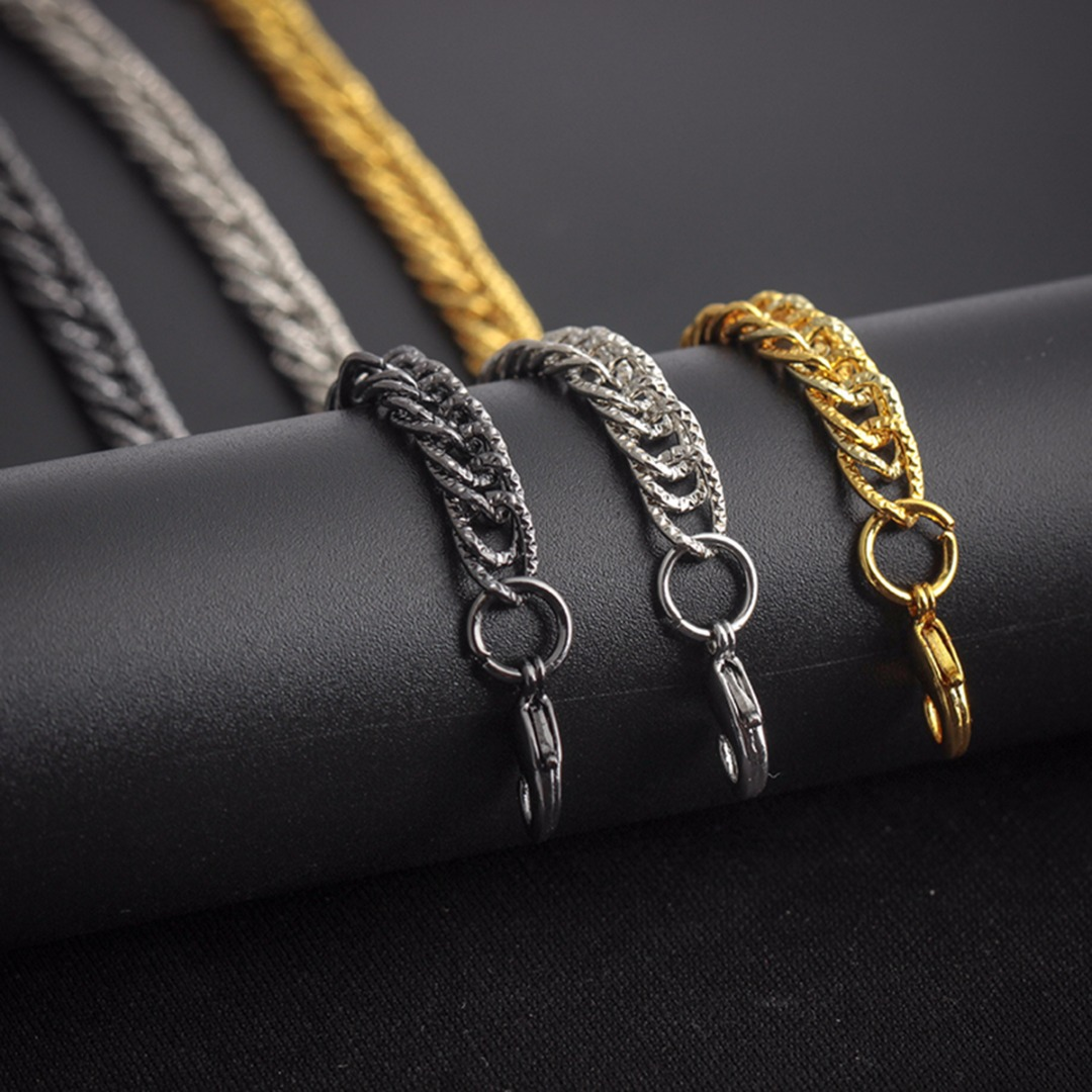 Men Bracelet Black Silver Gold Color Stainless Steel Bracelet & Bangle Shellhard Men Wristband Chain Hip Hop Rock Party Jewelry