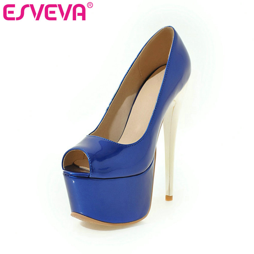 ESVEVA 2017 Thin High Heel Woman Pumps Party Sexy Peep Toe Spring Women Shoes Western Style Platfrom Wedding Shoes Size 34-43 vinlle 2018 woman pumps thick high heel sexy peep toe black gladiator summer women shoes zipper wedding dating shoes size 34 43