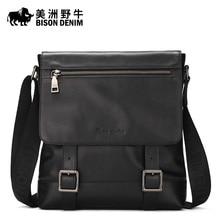 2016 New BISON DENIM Cowhide Genuine Leather Handbag Brand Men Messenger Bag Business Travel Crossbody Bag Men's Shoulder Bags