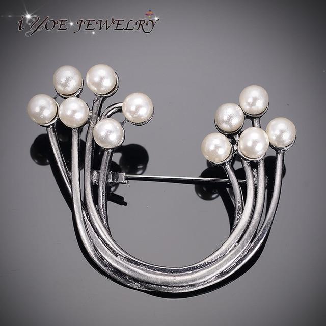 Iyoe черный пистолет цвет u-образный булавки аксессуары имитация pearl броши для женщин старинные металлические украшения