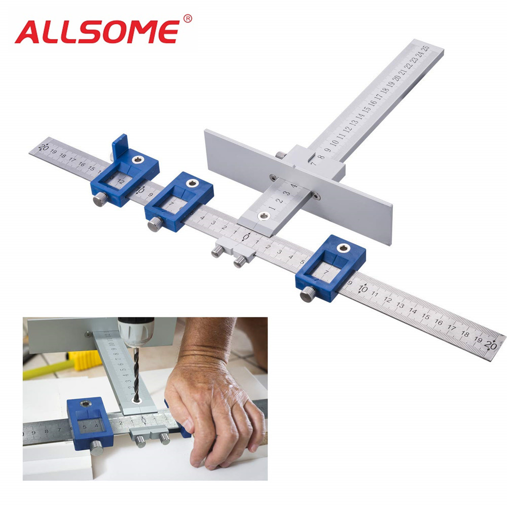 36bcb1e3144f ALLSOME Aluminum Alloy Drill Guide Sleeve Cabinet Hardware Jig Drawer Pull  Wood Drilling Dowelling Tools Set