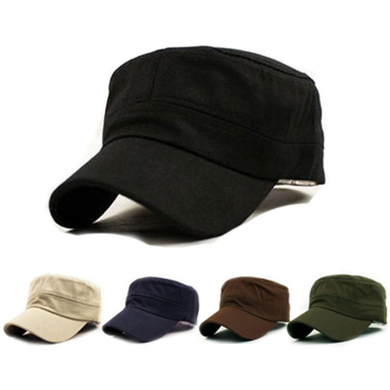 1PC Fashion Men Women Five Colors Unisex Adjustable Classic Style Plain Flat Vintage Army Hat Cadet Military Patrol Cap Best 3.8
