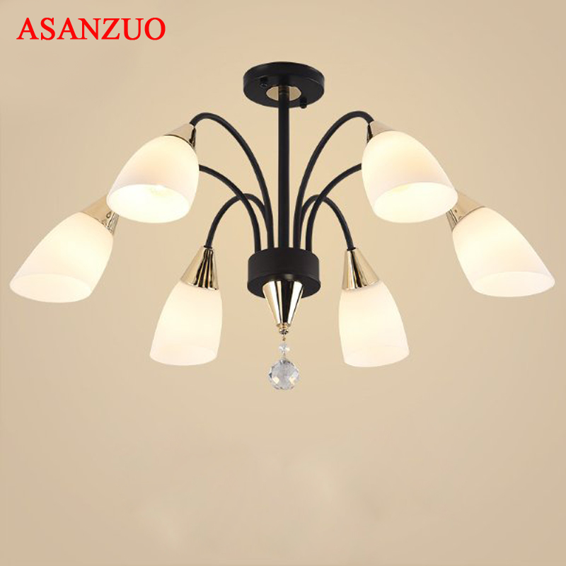 American Iron Ceiling lights glass lampshade 3/5/6 heads Modern living room bedroom dining room LED ceiling light E27 modern 3 6 lights crystal glass clear wineglass wine glass ceiling light lamp bedroom dining room fixture gift ems ship