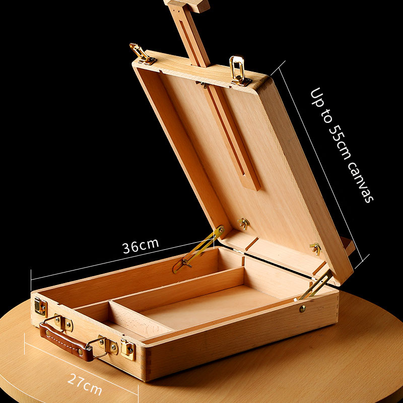 Elm Portable Oil Painting Box Beginner Portable Sketching Easel Wooden Multi-purpose Wood Retro Picture Box Art Supplies