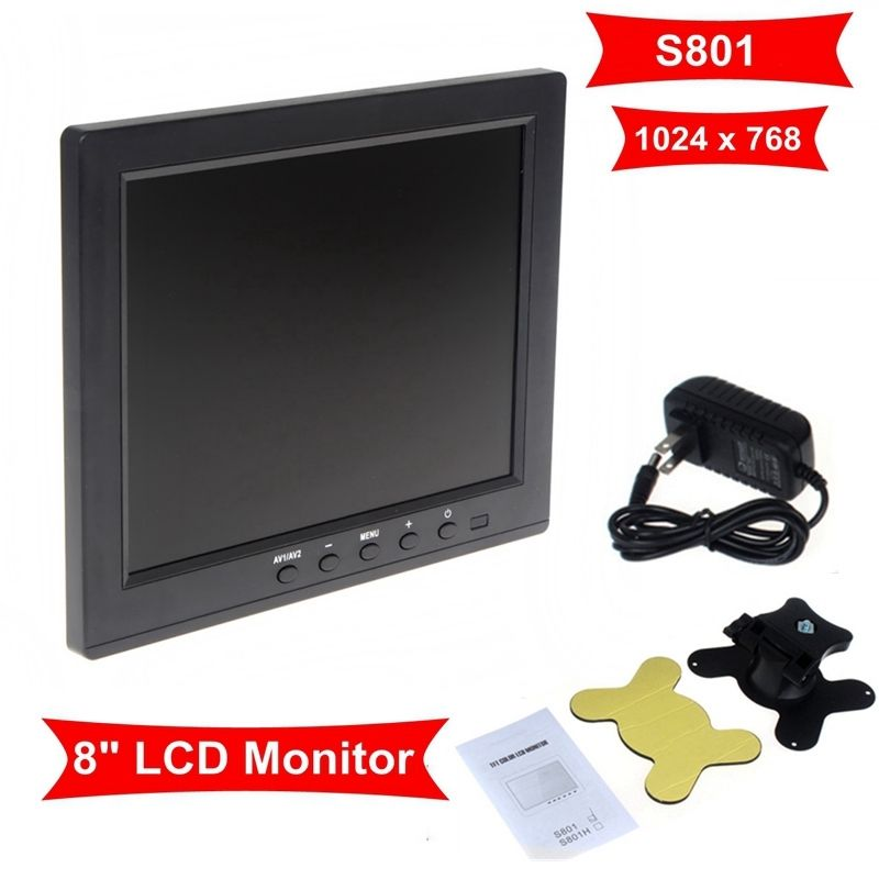Free Shipping! HD 8 TFT LCD Color Monitor 1204*768 VGA BNC Video Audio For PC,CCTV Cam,VCD,DVD eyoyo g08 160 degree 8 inch 400 1 tft lcd monitor screen 4 3 1024 768 hdmi av vga video audio for cctv fpv with loudspeaker