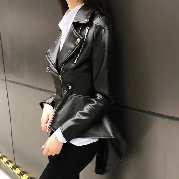 Autumn Female Black Faux   Leather   Jacket Women Black Asymmetrical Ladies Jackets Zipper Streetwear Jackets