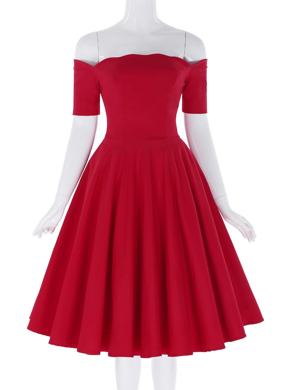 Belle Poque 17 Women Dress Robe Vintage Off Shoulder Black Summer Dress Jurken 1950s 60s Retro Rockabilly Swing Party Dresses 18