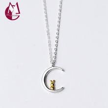 Korean Fashion Jewelry Big Moon Pendant Women 925 Sterling Silver Necklaces & Pendants Cute Animal Rabbit Christmas Gift D3547